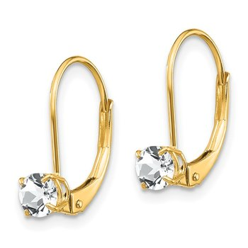 14k White Topaz Earrings - April