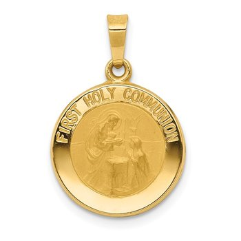 14k Polished/Satin First Holy Communion Medal Hollow Pendant