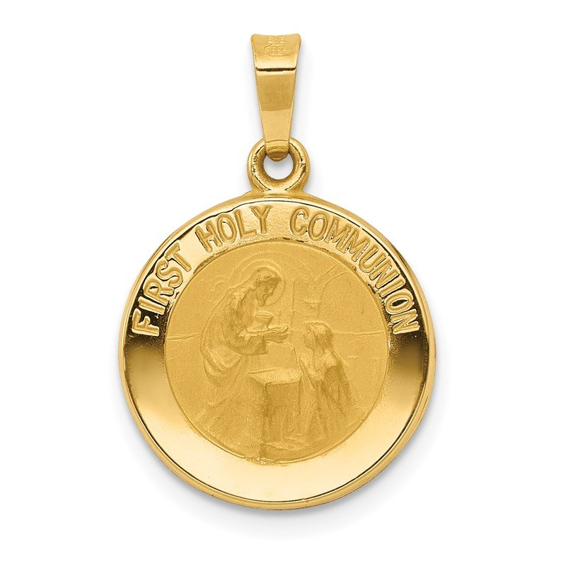 Quality Gold 14k Polished/Satin First Holy Communion Medal Hollow Pendant