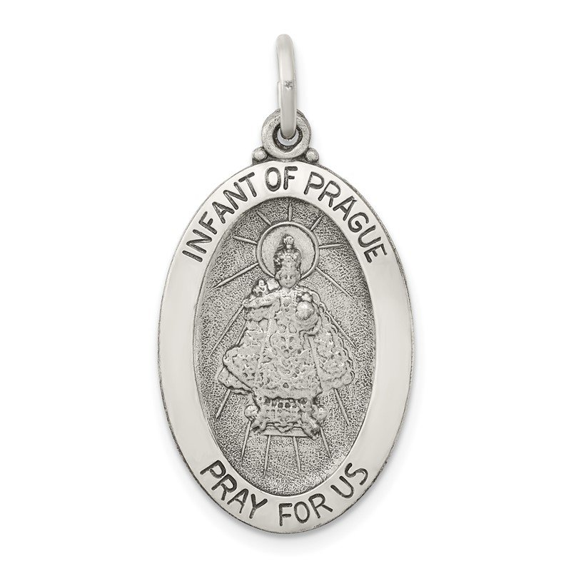 Quality Gold Sterling Silver Antiqued Infant of Prague Medal