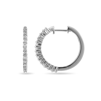 14K WG Diamond Hoops and Huggies Earring