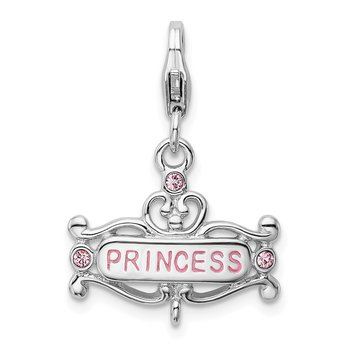 Sterling Silver RH Polished Pink CZ Princess with Lobster Clasp Charm
