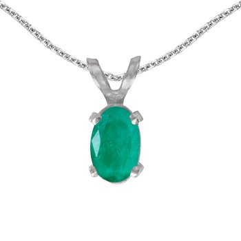 14k White Gold Oval Emerald Pendant