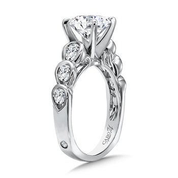 Diamond Engagement Ring With Semi-Bezel Side Stones in 14K White Gold with Platinum Head (2ct. tw.)