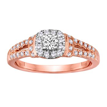 14K Rose Gold 1/2cttw Round Diamond Halo Bridal Set