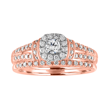 BLISS1: 14K Rose Gold 1/2cttw Cushion Halo Bridal Set
