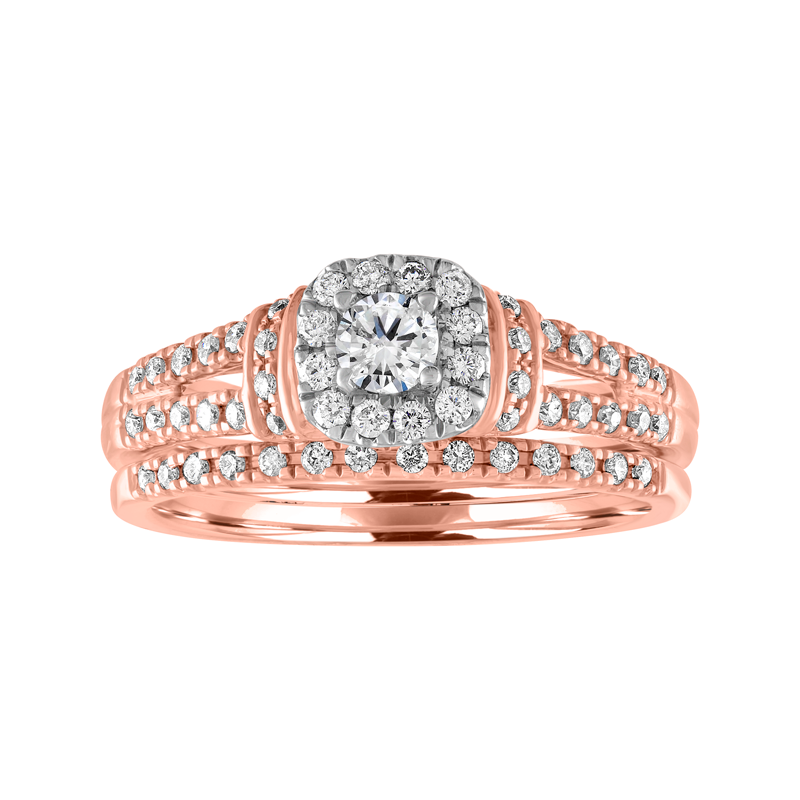 Blissful Bride BLISS1: 14K Rose Gold 1/2cttw Cushion Halo Bridal Set