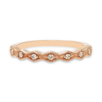 Geometric rose gold & diamond stackable band