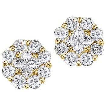 14K Yellow Gold .54 ct Diamond Clustaire Stud Earrings