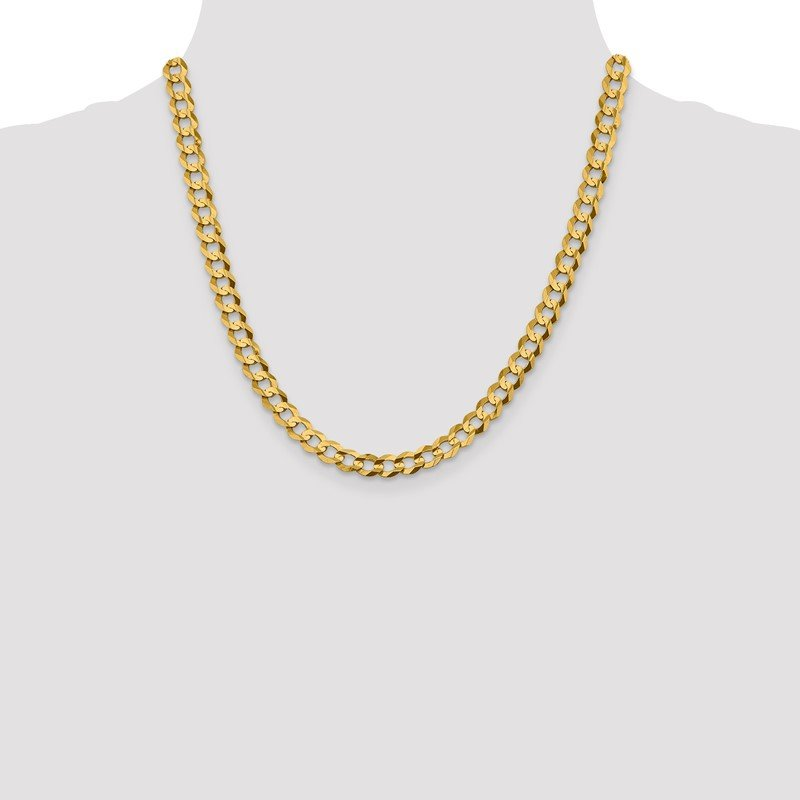 Quality Gold 14k 7.2mm Lightweight Flat Cuban Chain
