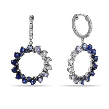 14K circle earrings with 36 Diamonds 0.56C TW & 44 Sapphires 2.14C TW