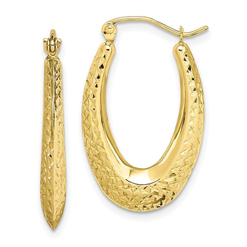 Quality Gold 10K Textured Oval Hollow Hoop Earrings