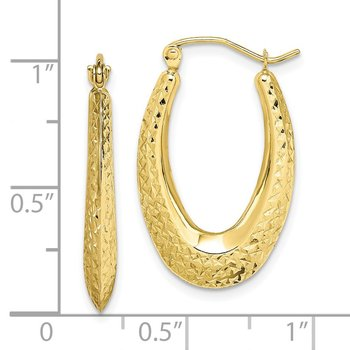 10K Textured Oval Hollow Hoop Earrings