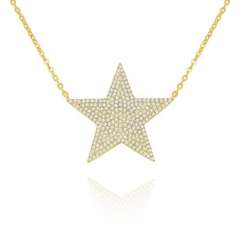14k Gold and Diamodn large Star Necklace