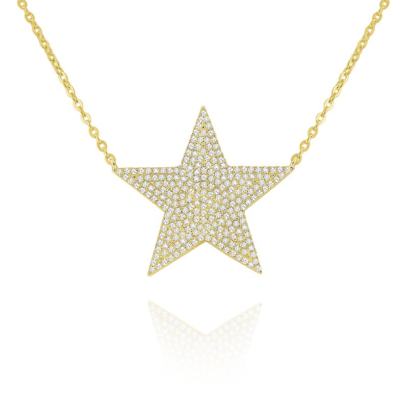 MAZZARESE Fashion 14k Gold and Diamodn large Star Necklace