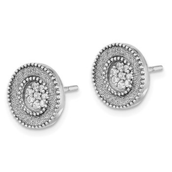 Sterling Silver Rhodium-plated Enamel Glitter Fabric w/CZ Post Earrings