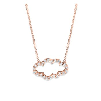 Diamond Cloud Necklace in 14K Rose Gold with 23 Diamonds Weighing .20 ct tw