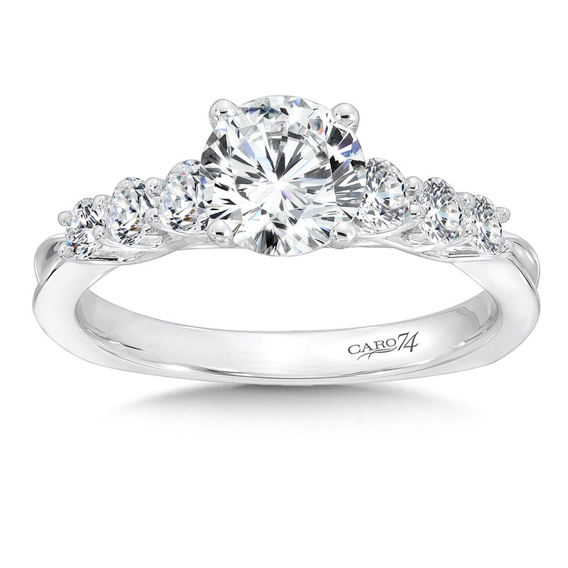 Caro74 Engagement Ring With Side Stones in 14K White Gold (1ct. tw.)