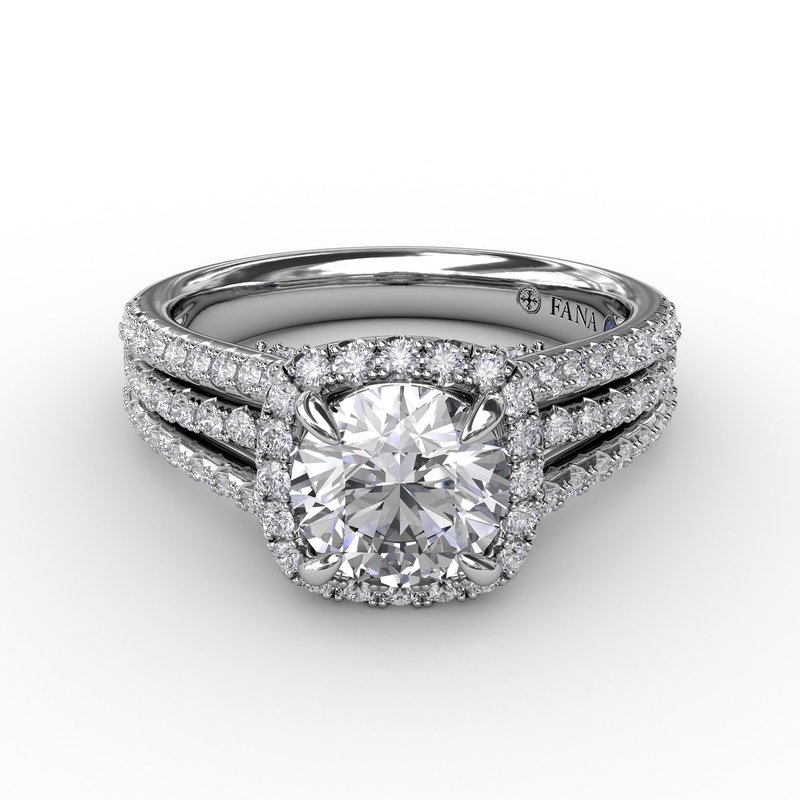 Fana Cushion-Shaped Diamond Halo Engagement Ring With Triple-Row Diamond Band