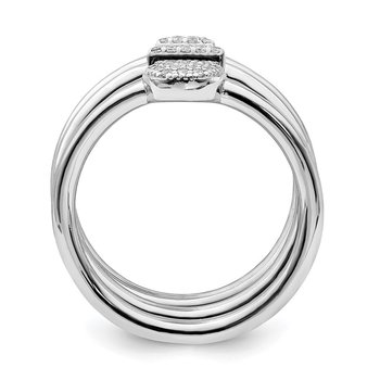 Sterling Silver Rhodium-plated Square/Round/Triangle CZ Ring Set