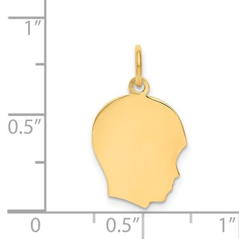 14k Plain Medium .009 Gauge Facing Right Engravable Boy Head Charm