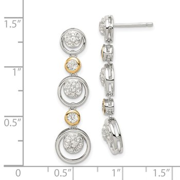 Sterling Silver w/14k CZ Drop Dangle Stud Earrings