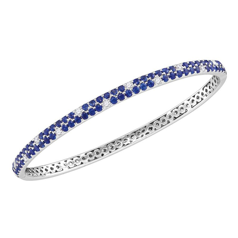 Kingdom Treasures 18kt White Gold Womens Round Blue Sapphire Diamond Double Row Bangle Bracelet 3-1/3 Cttw