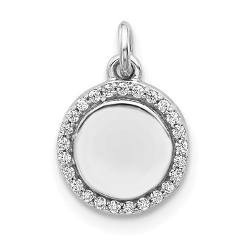 14k White Gold 1/10ct. Diamond Fancy Circle Pendant