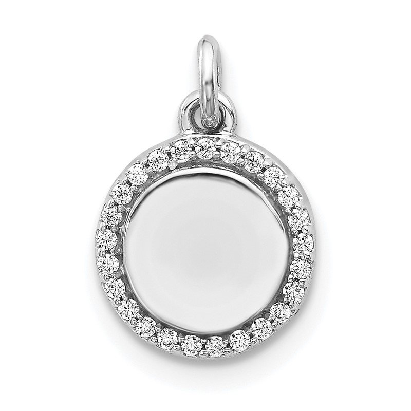 Quality Gold 14k White Gold 1/10ct. Diamond Fancy Circle Pendant