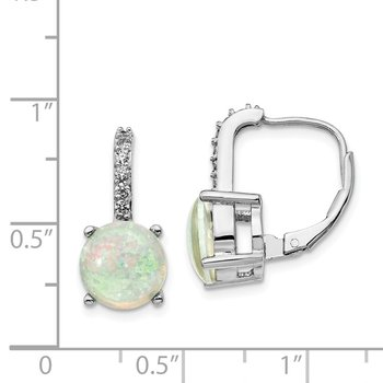 Cheryl M Sterling Silver CZ Lab created Opal Leverback Earrings