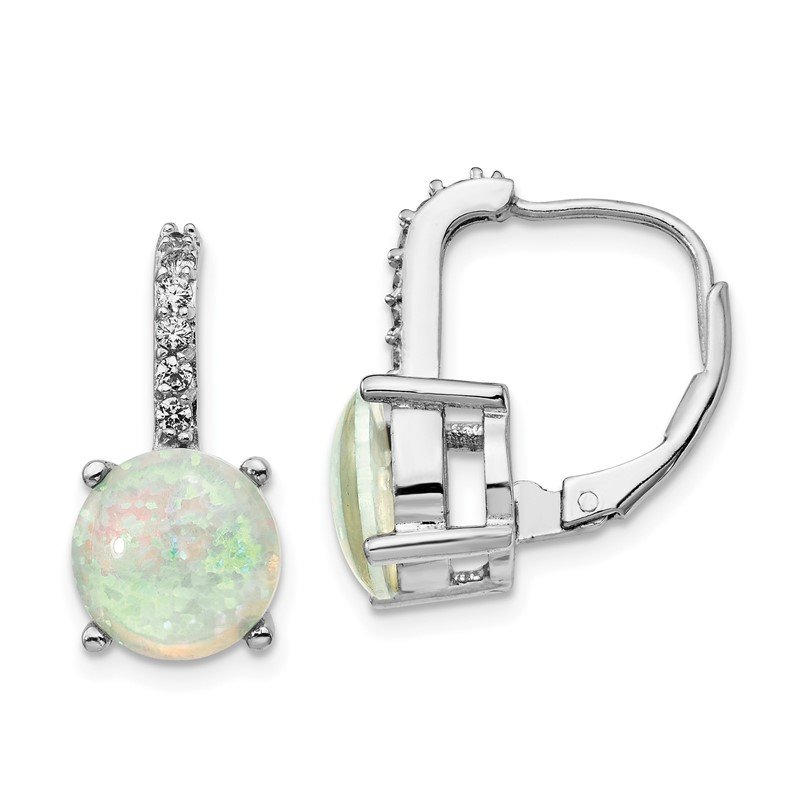 Cheryl M Cheryl M Sterling Silver Rhod-plated CZ & Created Opal Leverback Earrings
