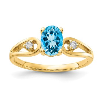 14k 7x5mm Oval Blue Topaz VS Diamond ring