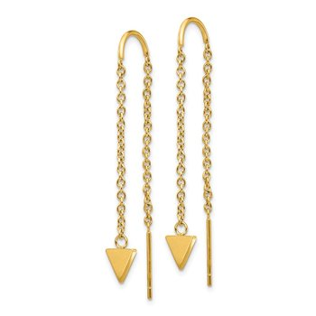 Stainless Steel Polished Yellow IP-plated Triangle Dangle Threader Earrings