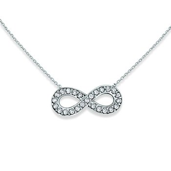 Diamond Small Infinity Necklace in 14k White Gold with 25 Diamonds weighing .14ct tw.