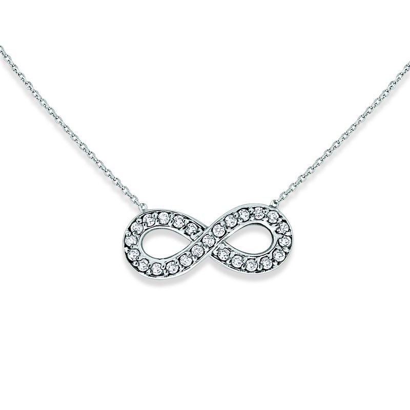 MAZZARESE Fashion Diamond Small Infinity Necklace in 14k White Gold with 25 Diamonds weighing .14ct tw.