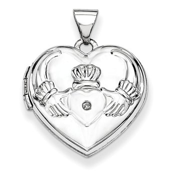 14k White Gold Polished Diamond Heart-Shaped Claddagh Locket