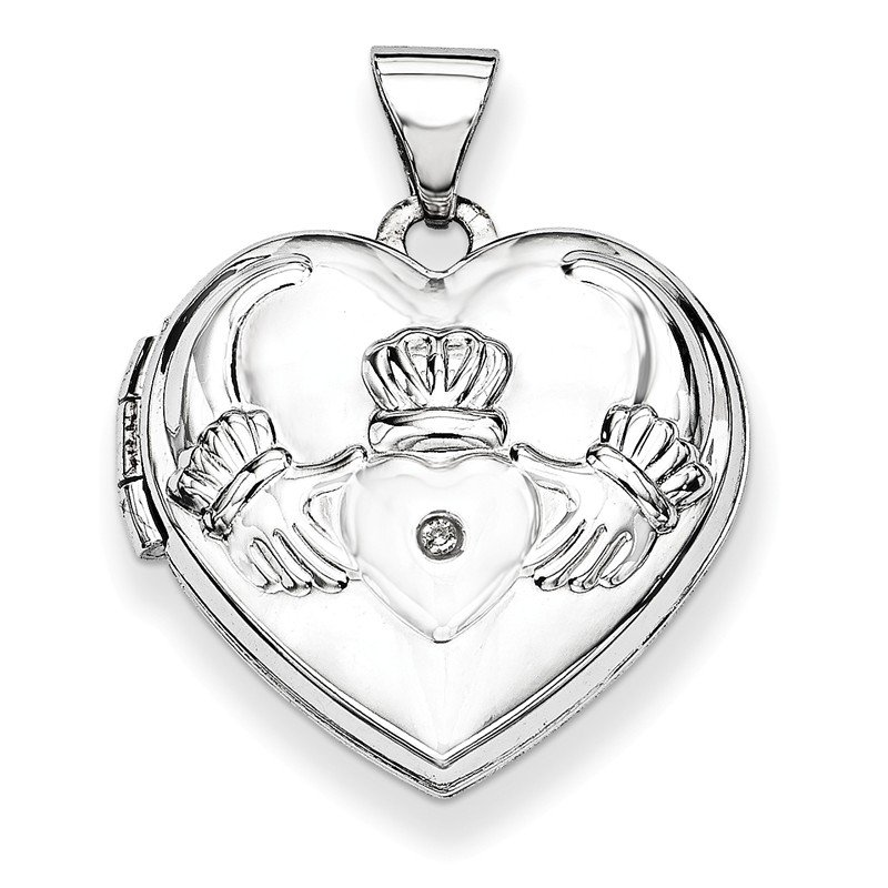 Quality Gold 14k White Gold Polished Diamond Heart-Shaped Claddagh Locket