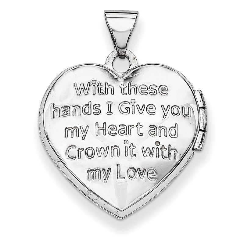 Quality Gold 14k White Gold Diamond Heart Claddagh Locket