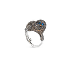 Roberto Coin Seal Ring With Diamonds And Sapphires