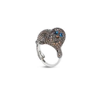 18KT GOLD SEAL RING WITH DIAMONDS AND SAPPHIRES