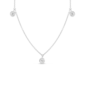 18K THREE DIAMOND DROP STATION NECKLACE