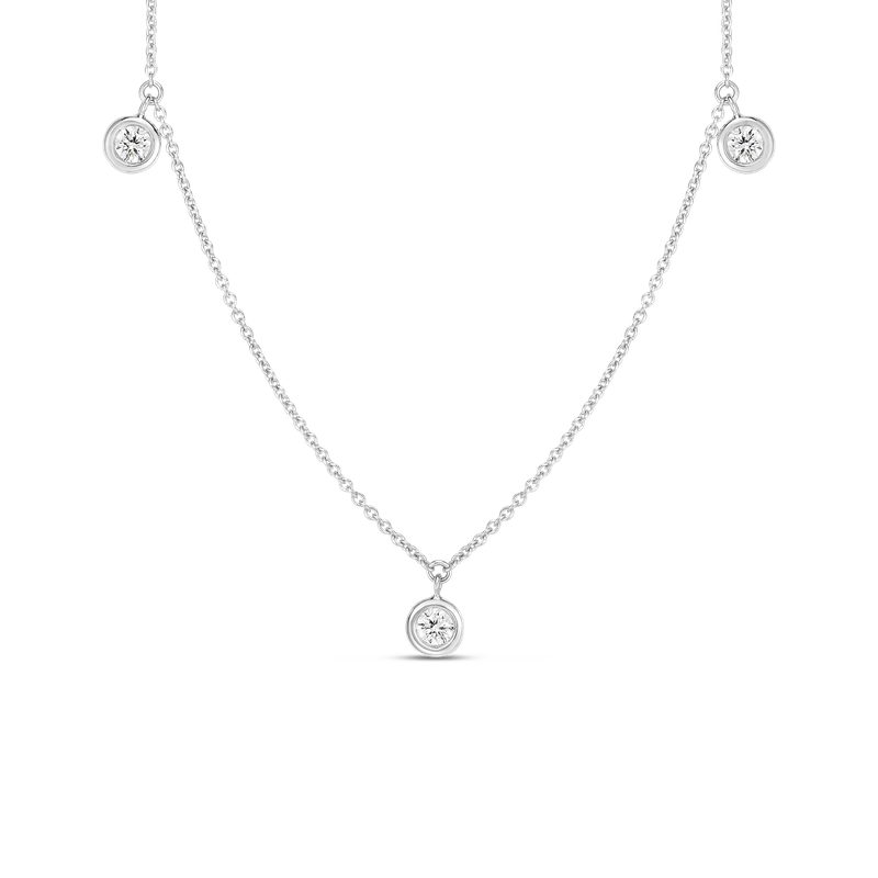 Roberto Coin 18K THREE DIAMOND DROP STATION NECKLACE