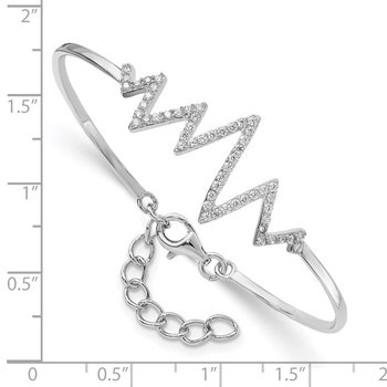 Sterling Silver Rhodium-plated CZ Heartbeat Bangle