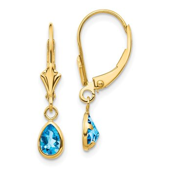 14k 6x4mm December/Blue Topaz Earrings