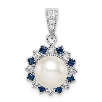 Sterling Silver RH-plated FWC Pearl/Syn. Blue Spinel Flower Pendant