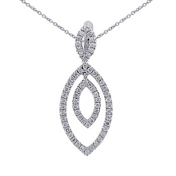 14K White Gold .37 Ct Diamond Marquise Shape Pendant