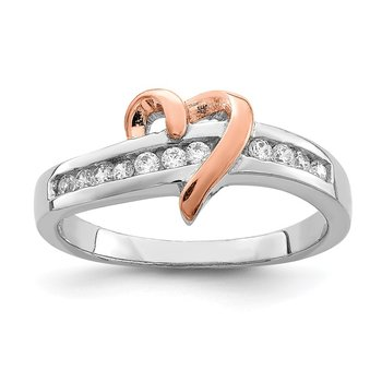 Sterling Silver Rhodium-plated Vermeil Polished Heart CZ Ring
