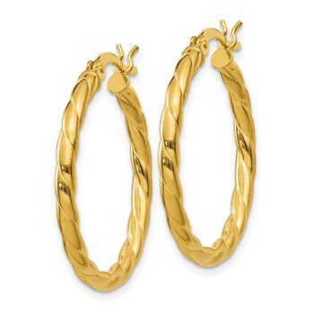 Sterling Silver Gold Flash Plated Twisted 3x25mm Hoop Earrings