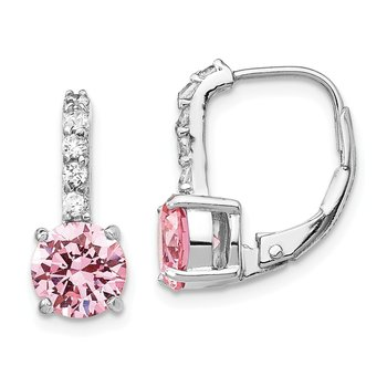 Cheryl M Sterling Silver Round Brilliant-cut Pink CZ Leverback Earrings