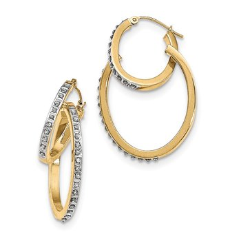 14K Diamond Fascination Oval Hinged Double Hoop Earrings